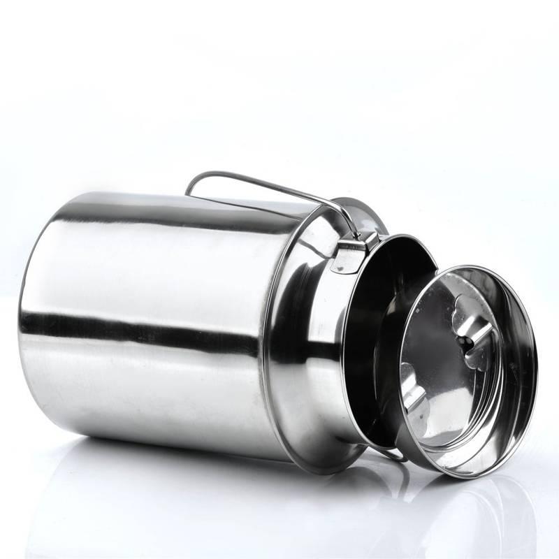 Milchkanne Edelstahl mit Steckdeckel und Tragebügel 4,3L Transportkanne