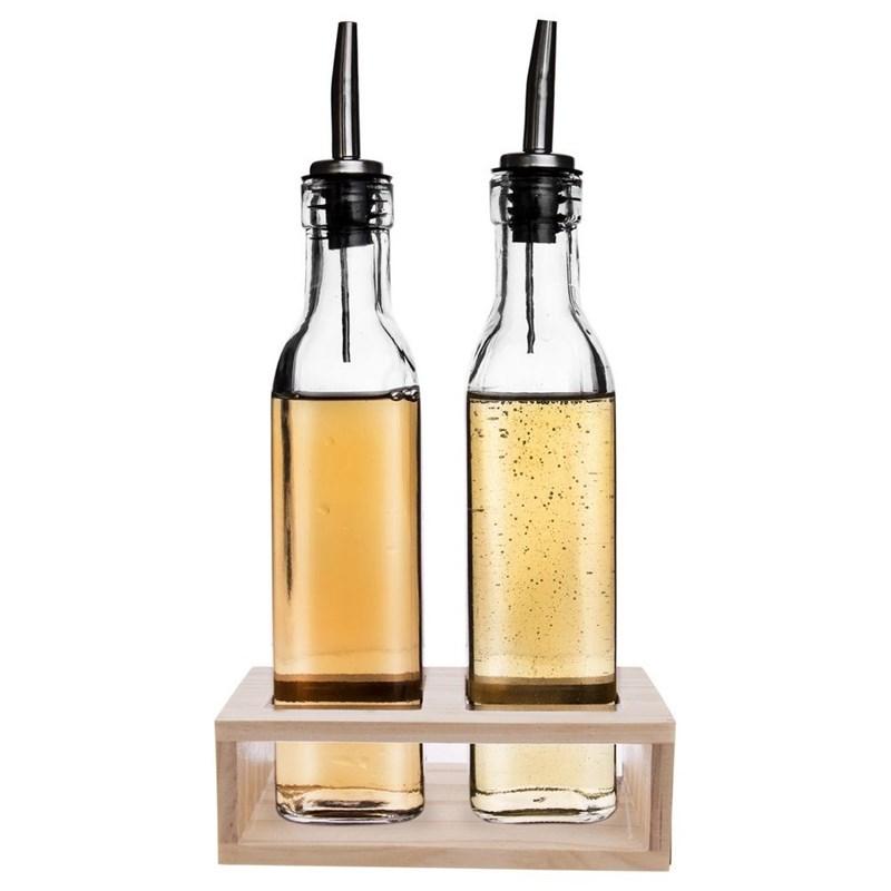 Dozownik do oliwy octu butelka na oliwę ocet zestaw komplet 2 sztuki w stojaku