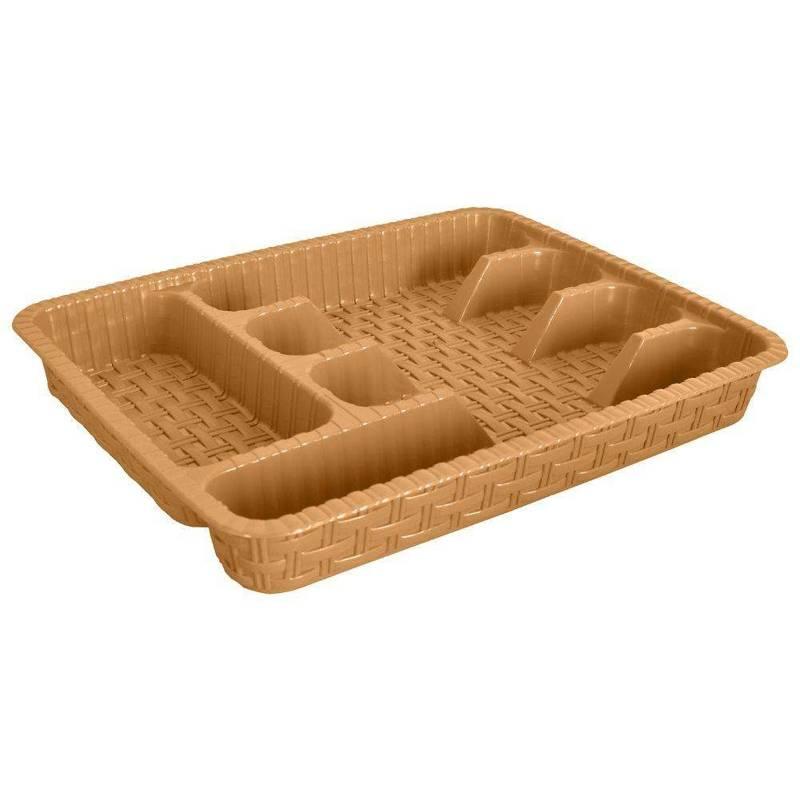 Organizer wkład do szuflady na sztućce przybory rattanowy 37,5x29 cm kremowy